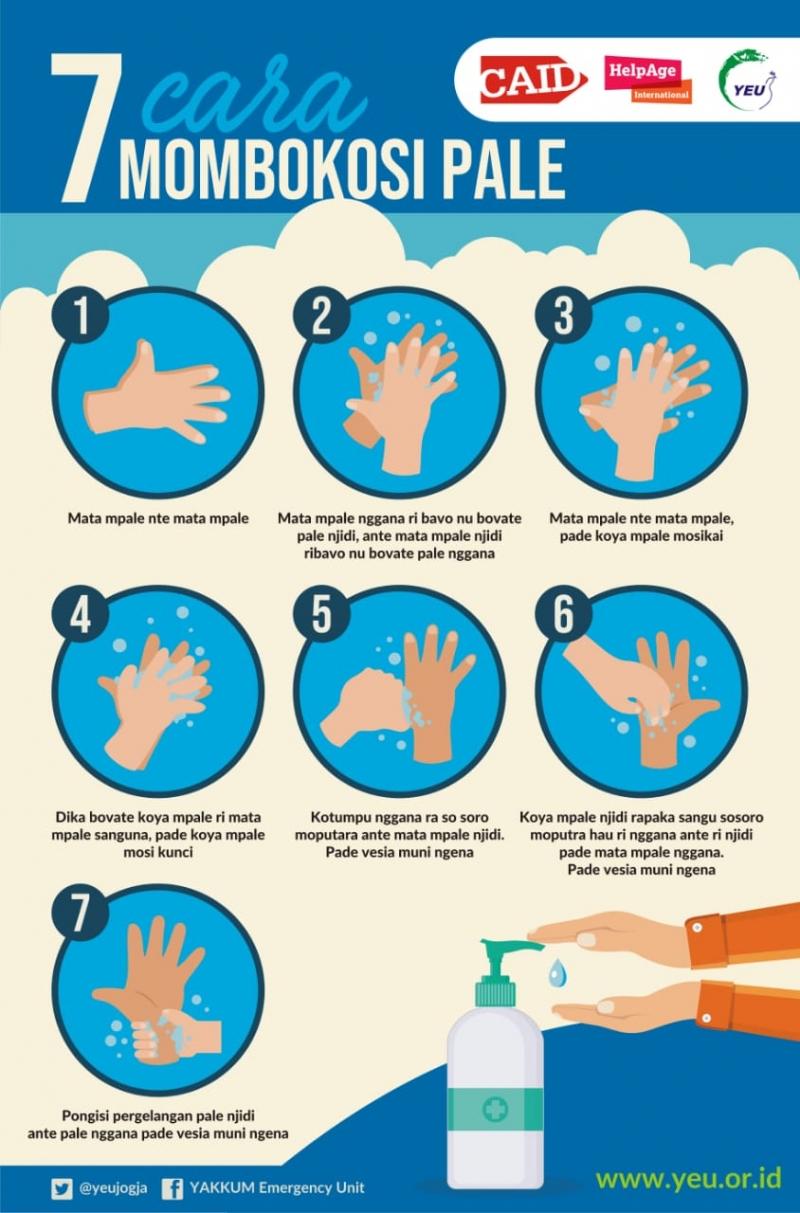 7 Langkah Cuci Tangan Pakai Sabun dalam Bahasa Kaili Sulteng