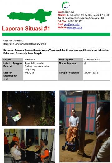 Laporan Situasi #1  Banjir dan Longsor Kabupaten Purworejo