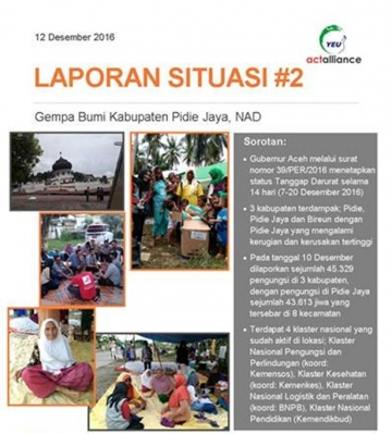Situation Report #2 Gempa Pidie Jaya Aceh
